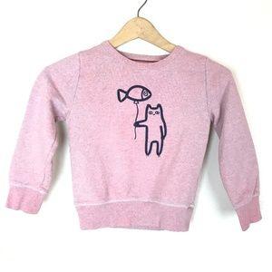 Johnnie B Boden Pink Blue Cat Balloon Sweater
